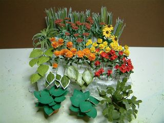 The Hostas Christmas Cactus Sedum Yellow Marigolds And Red Impatiens Were Made From Kits By Sdk Miniatures Came